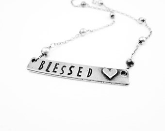 Blessed Necklace Hand Stamped Blessed Necklace Personalized Christian Jewelry Spiritual Necklace Pewter Mommy Jewelry Metal Jewelry Gift