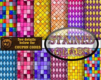 stained glass digital paper, stained glass background, stained glass scrapbook paper