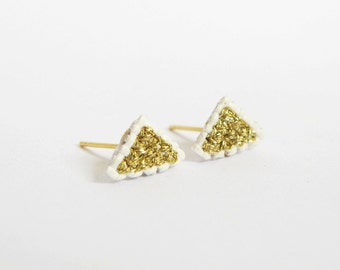 Gold triangle earrings, gifts under 20, gifts for her, New year accessories, cross stitch earrings, embroidered earrings, dainty earrings