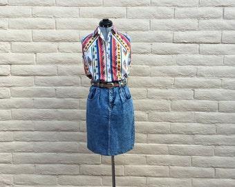 Vintage Denim Jean Pencil Skirt Sierra West 80s Sz 9
