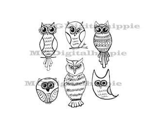 Owl digi stamp set Printable digital stamps Owl stamp set Bird digital stamp Owl digital Owl print Paper crafts stamps Scrapbook supplies