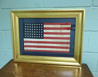 Authentic Original 48 Star Professionally Framed American Flag Rare