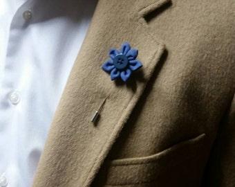 True Blue Mens Lapel Flower.  Blue Lapel Flower.  Flower Lapel Pin.