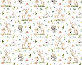 Woodland Friends Fabric, Woodland Nursery Fabric, Baby Girl Fabric, Deer & Fox Fabric, Forest Animals Fabric,Animals Flowers 7571722