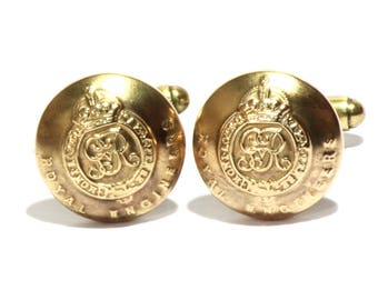 Royal Engineers Vintage Brass Cuff links - Uniform buttons