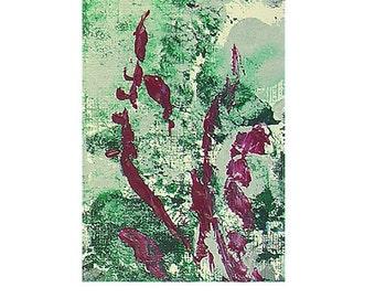 ACEO 81, Abstract Original Art Mini-Painting von Lisa Strassheim - Magenta - Teal - White