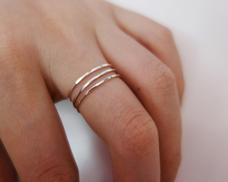 dünne Spirale Ring/Sterling Silber/14 K Gold gefüllt/Stapeln