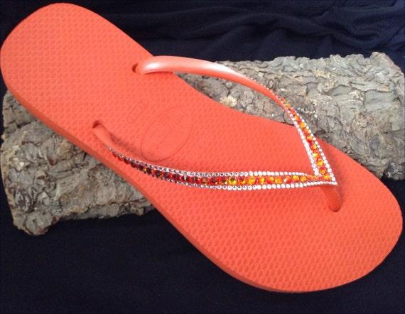 Orange Coral Flip Flops Havaianas Slim w/ Swarovski Crystal Bling Rhinestone Guava Tangerine Red Fire Jewel Custom Beach Shoes Glass Slipper