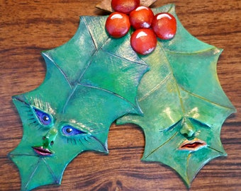 Holly Twins. Original Art. A Sculpey Clay Relief Wall-Hanging.