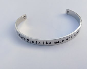 I love you to the moon and back bracelet - moon and back - cuff bracelet - gift for her - gift for mum - birthday gift - mum bracelet