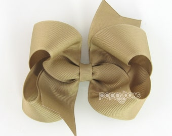 Khaki Hair Bow - Baby Toddler Girl - Solid Color Tan Sand 4 Inch Boutique Bow on Alligator Clip Barrette