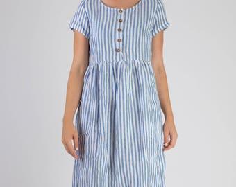 Model No. 11 - Blue & white stripe linen dress