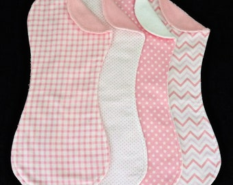 Girlie Pink Burp Cloths in Terry and Flannel