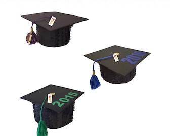 Large Graduation Cap Piñata, Black and Green, Any Year or Color Available