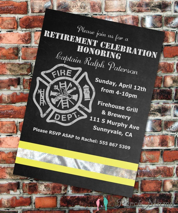 Firefighter Retirement Party Invite