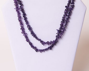 Long Amethyst Chip Necklace; 38 inch purple necklace