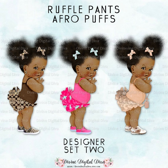 Ruffle Pants Natural Hair Pony Tails Afro Puffs African