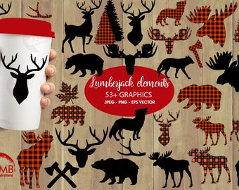 Lumberjack clipart, Buffalo plaid clipart, 54 Forest animal silhouettes, Moose, Trees, Wolf, Deer, Bear, Antlers,  AMB-2315