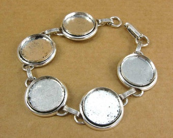 Bezel Large Circle Bracelet Blank - Antique Silver Plated Finish