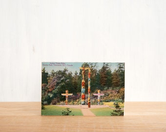 Vintage Postcard Art Block 'Totem Poles' - Canadiana, Native American, First Nations
