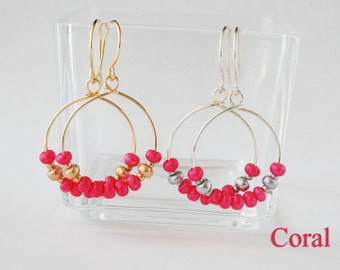 Seed Bead Hoop Earrings, Coral Earrings, Fuchsia Earrings, Ruby Earrings, Small Hoop Earrings, Beaded Hoop Earrings