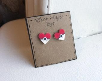 Pokeball Heart post Earrings
