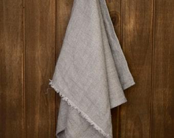 Linen Tea Towel, Kitchen towels handmade, Stonewashed tea towels, Natural color tea towel, Washable, Gifts for Mom, Fringed tea towel
