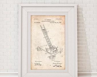 Fireman Extension Ladder Patent Poster, Vintage Firefighter, Fire Department Decor, Firefighter Gift, Fireman Poster, Firehouse, PP1331
