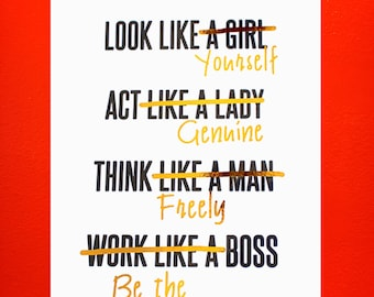 Gold Foil PRINT ONLY Feminist Girl Boss, Act like a Lady, Think Like a Man White & gold home decor, office decor, gold print