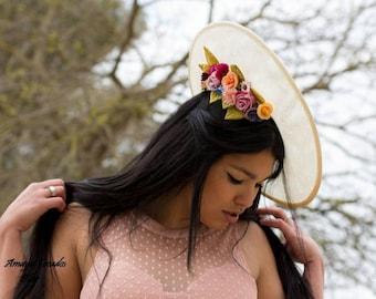 Pamela with ideal flowers wedding Guest/flower fascinator