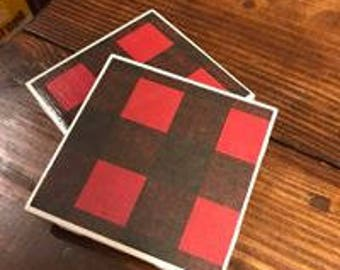 Red and Black Buffalo Plaid Drink and Beverage Coasters