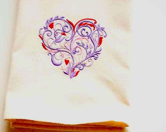 Filigree Heart Tea Towel | Embroidered Kitchen Towel | Personalized Kitchen Towel | Embroidered Towel | Heart Tea Towel | Custom Towel