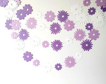 Purple Paper Garland, Paper Flower Garland, Spring Decor, Girl Birthday  Party Decoration,