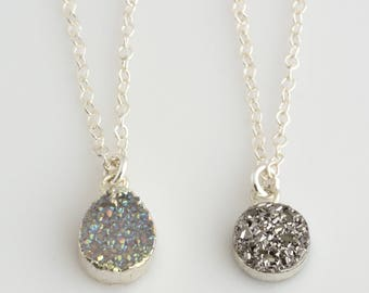 Silver Druzy Necklace, Tiny Druzy Pendant Necklace, Delicate Silver Druzy Layering Necklace, Silver Crystal Necklace, Gift for Her, N304
