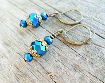 Antiqued Brass Leaver back Earrings/ Metallic Blue, Red or Tan Faceted Crystal with Handmade Gift pouch