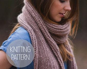 KNITTING PATTERN - easy herringbone scarf
