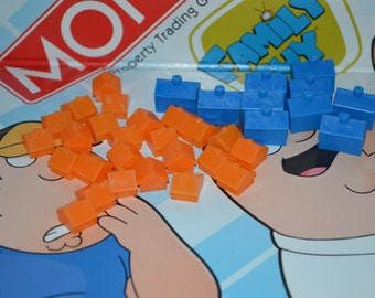 Monopoly Blue Hotels and Orange Houses: Original Game Pieces (35 Piece Set)