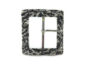 Vintage Brutalist Belt Buckle, Silver Tone, Modernist