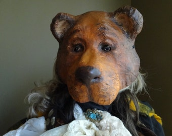 Masquerade mask, bear mask, animal mask, bear costume, paper mache mask, masquerade men, masquerade mask, papier mache mask