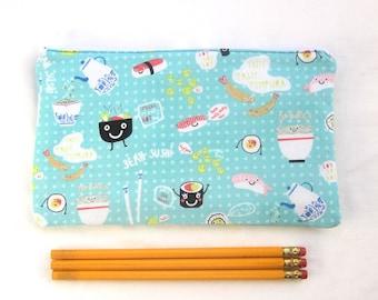 Cutie Sushi Fabric Zipper Pouch / Pencil Case / Make Up Bag / Gadget Pouch