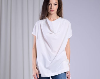 White Blouse, One Shoulder Top, Gothic Clothing, Women White Top, Cotton Blouse, Victorian Top, Loose Blouse, White Extravagant Top