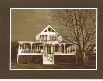 Cottage in sepia - photo card