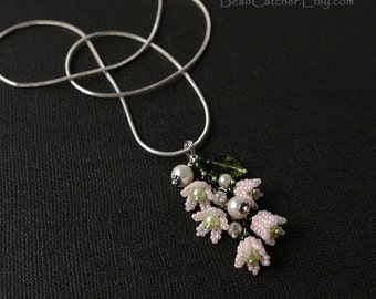 Pink Lily of the valley beadwoven pendant