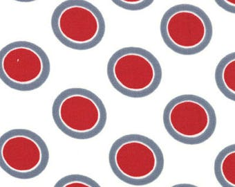 Urban Chiks Fabric, Hullabaloo by Urban Chiks for Moda Fabrics, 32407-17 Red Circle Dots on White
