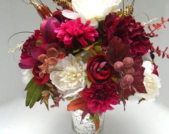 """Fall Floral Arrangement in Metallic Glass Vase - """" Natural Elegance""""  Autumn, Thanksgiving Floral, Fall Floral Centerpiece, Fall Floral"""