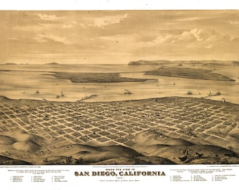 San Diego, California Antique Drawing Poster 1876