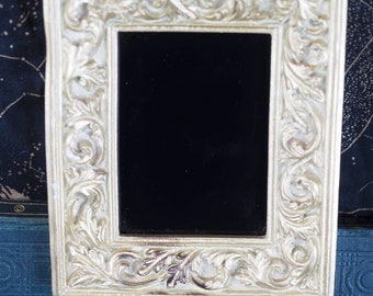 Gold Framed Black Scrying Mirror For Divination - Pagan, Wicca, Witchcraft, Ritual, Magic - Upcycled Frame