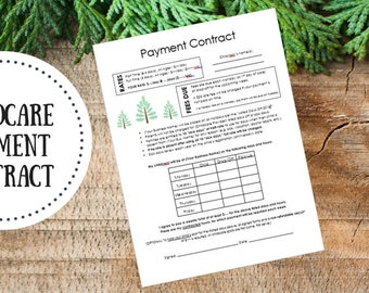 Editable | Childcare Payment Contract - Babysitter Form - Daycare Form - Childcare Planner