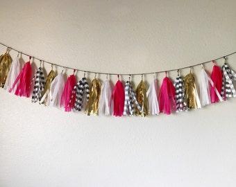Pink, Gold, White, and Black Striped Tassel Garland | Tassel Banner | Bridal Shower Decor | Birthday Party Decor | Party Supplies | Spade