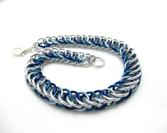 Half Persian 4:1 Chainmaille Bracelet - Shades of Blue & Silver
